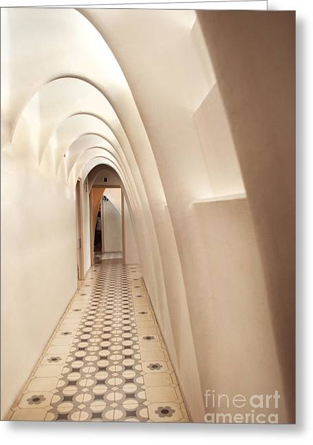 Olia Saunders Greeting Cards - Hallway in Casa Batllo Barcelona  Greeting Card by Design Remix