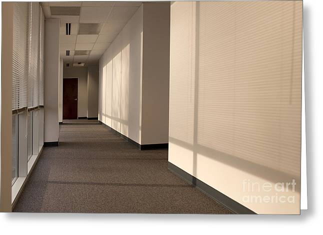 Hallway of an Office Building Greeting Card by Will & Deni McIntyre