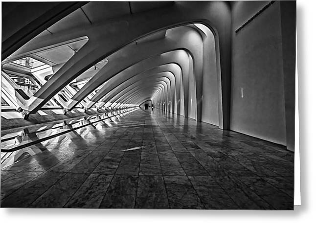 Nik Silver Efex 2 Greeting Cards - Hallway of Repetition Greeting Card by CJ Schmit