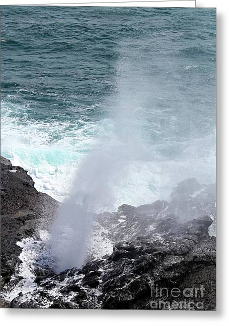 Halona Greeting Cards - Halona Blow Hole Greeting Card by Nicole Fleckenstein