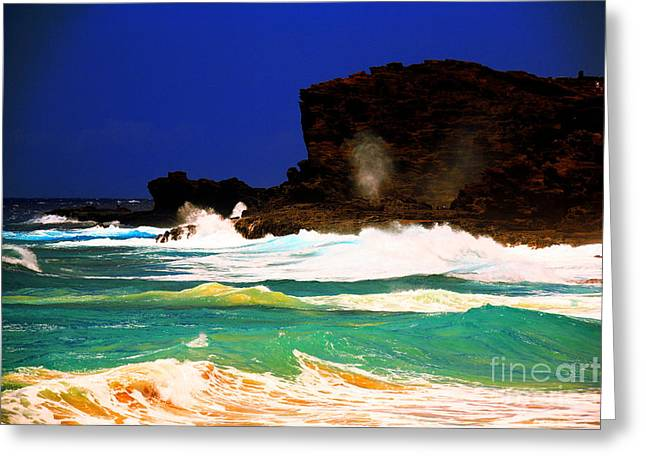 Halona Greeting Cards - Halona Blowhole Greeting Card by Cheryl Young