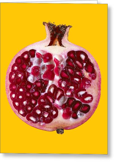 Punica Granatum Greeting Cards - Halved Pomegranate Greeting Card by Mark Sykes
