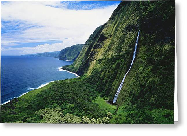 Hamakua Greeting Cards - Hamakua Coast Waterfalls Greeting Card by Greg Vaughn - Printscapes