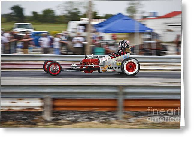Dragway Greeting Cards - HAMB Gas Rail Greeting Card by Dennis Hedberg