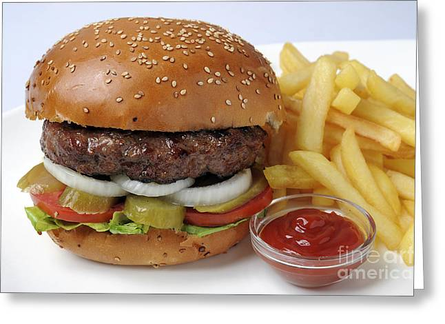 French Fries Greeting Cards - Hamburger  Greeting Card by Ilan Amihai