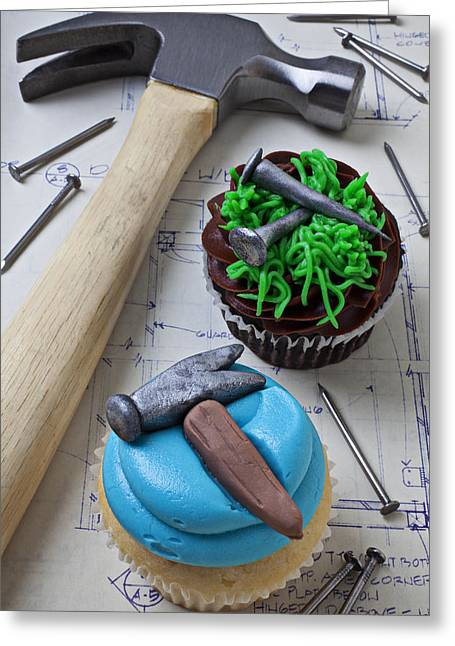 Hammer Cupcake Greeting Card by Garry Gay
