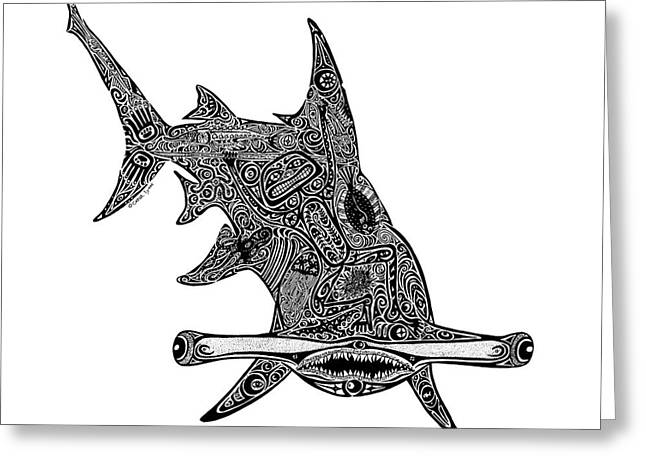Diving Drawings Greeting Cards - Hammerhead Shark Greeting Card by Carol Lynne
