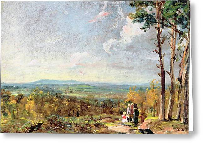 Harrow Greeting Cards - Hampstead Heath Looking Towards Harrow Greeting Card by John Constable