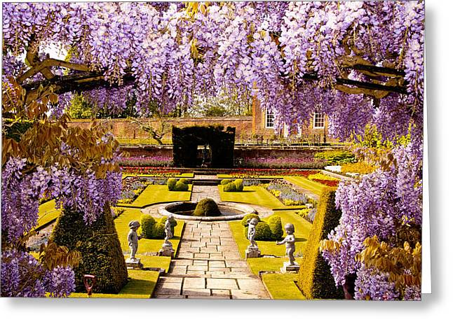 Hampton Court Greeting Cards - Hampton Court Gardens III Greeting Card by Jon Berghoff