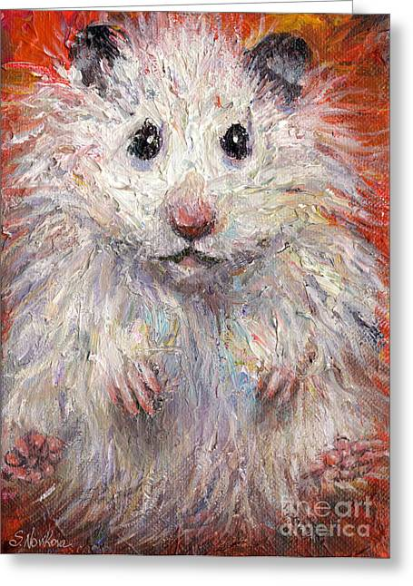 Custom Portraits Greeting Cards - Hamster Painting  Greeting Card by Svetlana Novikova