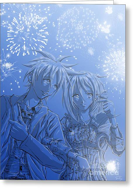 Fireworks Drawings Greeting Cards - Hanabi Greeting Card by Tuan HollaBack