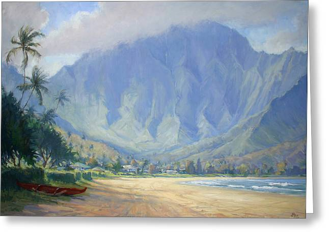 Ocean Landscape Greeting Cards - Hanalei Bay Morning Greeting Card by Jenifer Prince