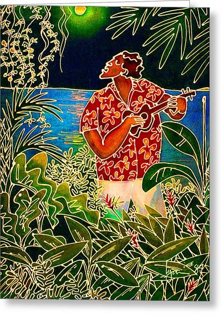 Mango Paintings Greeting Cards - Hanalei Moon Greeting Card by Angela Treat Lyon
