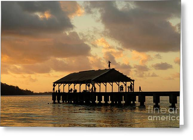 Hanalei Beach Greeting Cards - Hanalei Pier Kauai 1 Greeting Card by Bob Christopher
