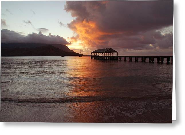 Hanalei Beach Greeting Cards - Hanalei Sunset Greeting Card by Kelly Wade