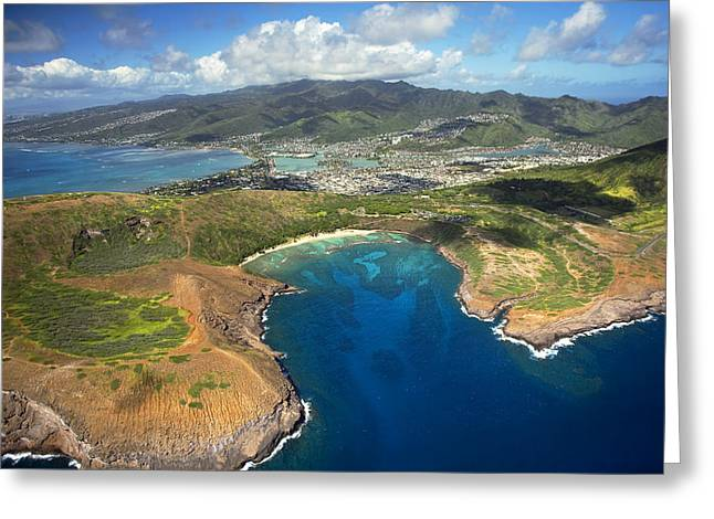 Snorkel Greeting Cards - Hanauma Bay from Above Greeting Card by Ron Dahlquist - Printscapes