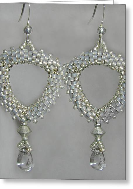 Weave Jewelry Greeting Cards - Hand Beaded Delica Earrings Greeting Card by Jennie Breeze