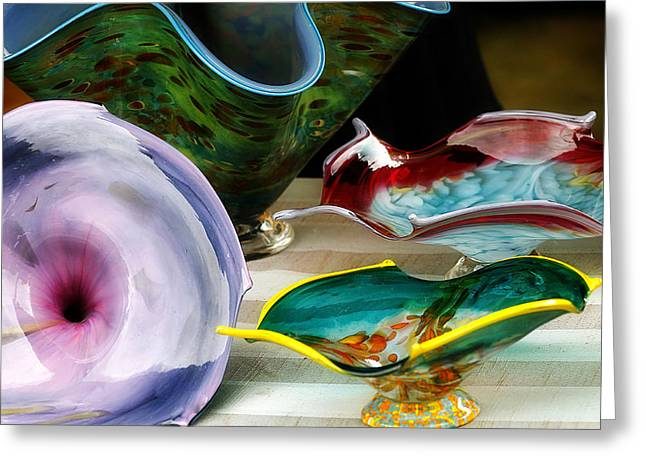 Art Blown Glass Greeting Cards - Hand Blown Glass 3 Greeting Card by Scott Hovind