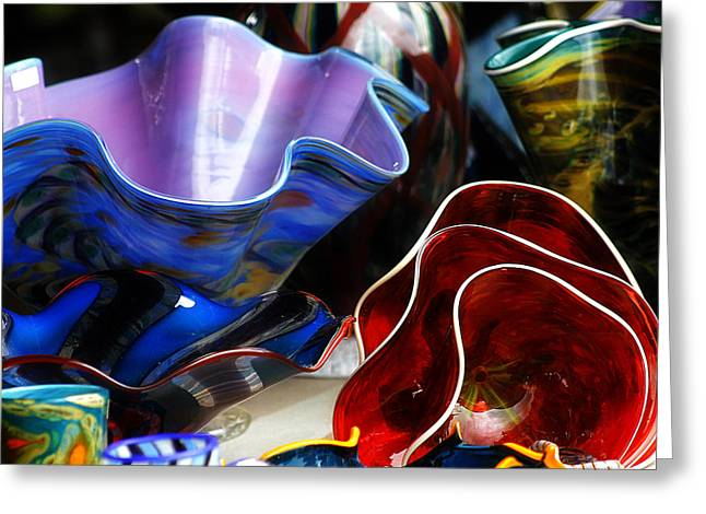 Art Blown Glass Greeting Cards - Hand Blown Glass 5 Greeting Card by Scott Hovind