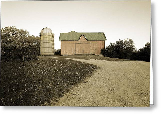 Sepia And Cream Greeting Cards - Hand-colored Barn on NN Greeting Card by Jan Faul