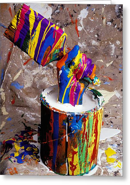 Fist Greeting Cards - Hand coming out of paint bucket Greeting Card by Garry Gay