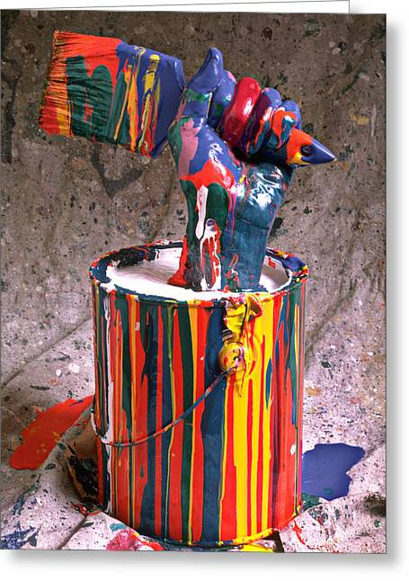 Messy Greeting Cards - Hand coming out of paint can Greeting Card by Garry Gay