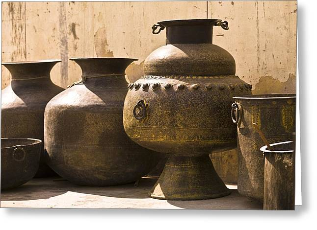 Hand Crafted Jugs, Jaipur, India Greeting Card by Keith Levit