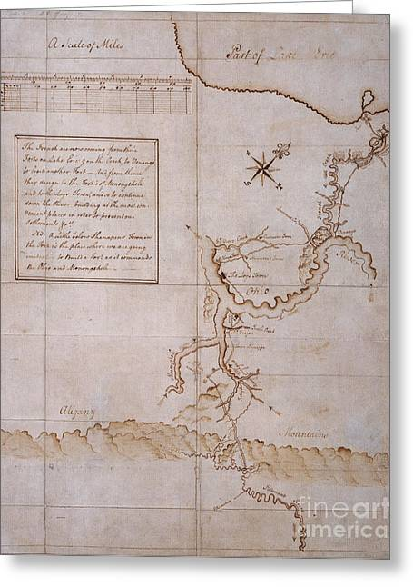 Hand Drawn Greeting Cards - Hand Drawn Map By G. Washington Greeting Card by Photo Researchers