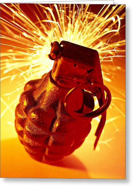 Flash Greeting Cards - Hand Grenade  Greeting Card by Garry Gay