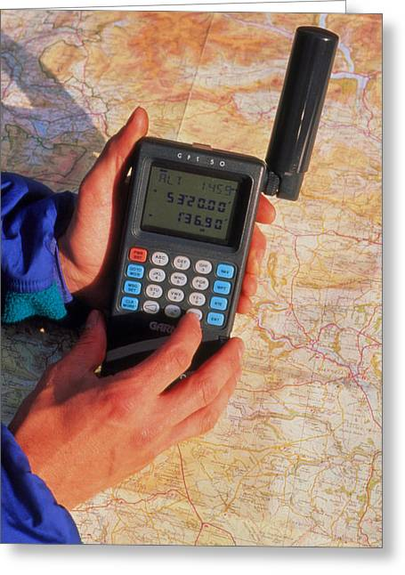 Gps Greeting Cards - Hand-held Gps Receiver And Map Greeting Card by David Parker