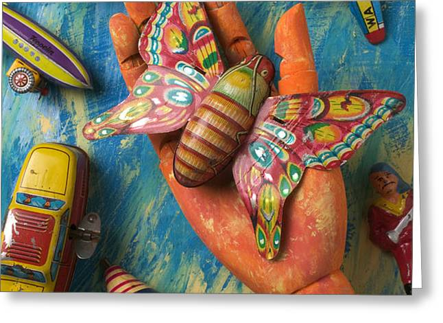 Hand Holding Butterfly Toy Greeting Card by Garry Gay