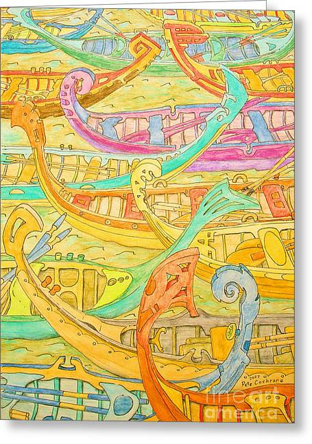 Row Boat Drawings Greeting Cards - Hand Made Boats Greeting Card by Pete Cochrane