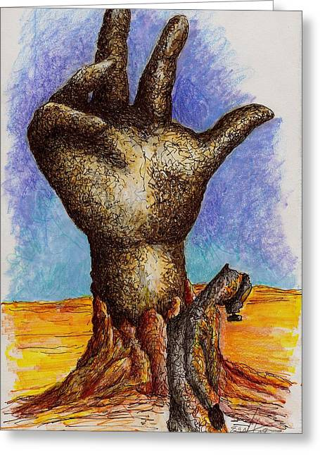 Biological Drawings Greeting Cards - Hand of Desolation Greeting Card by Douglas Egolf