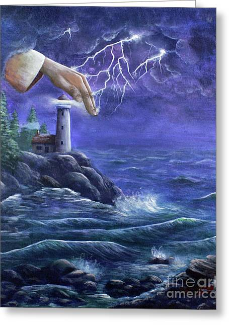Lightning Landscapes Greeting Cards - Hand of Protection Greeting Card by Kristi Roberts