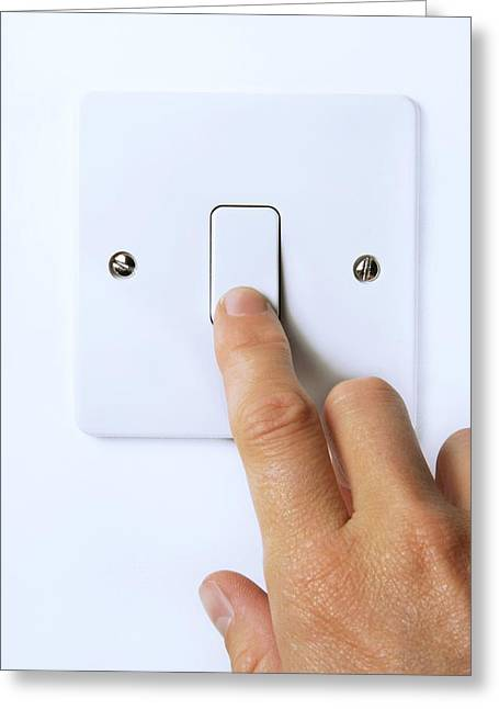 Wall-mounted Greeting Cards - Hand Operating Light Switch Greeting Card by Cordelia Molloy