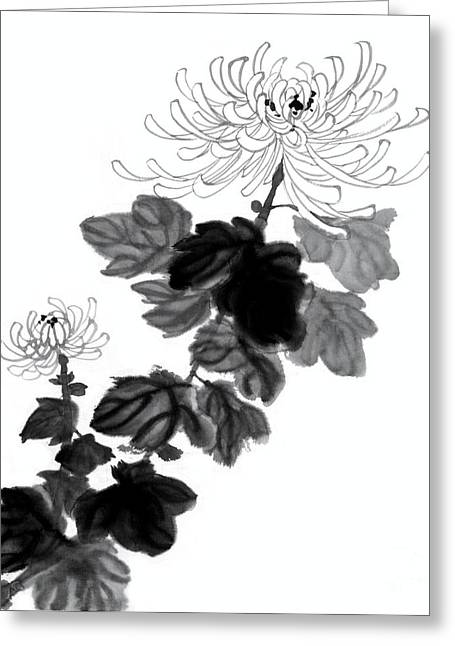 Hand Painted Chrysanthemum Flowers Greeting Card by Evelyn Sichrovsky