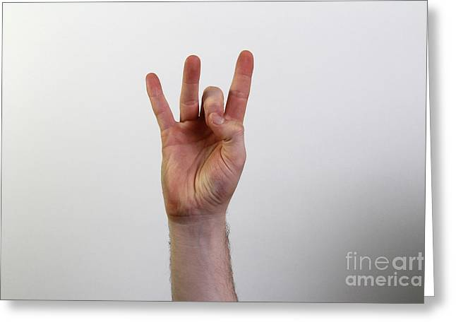 American Sign Language Greeting Cards - Hand Signing Number Eight Greeting Card by Photo Researchers, Inc.