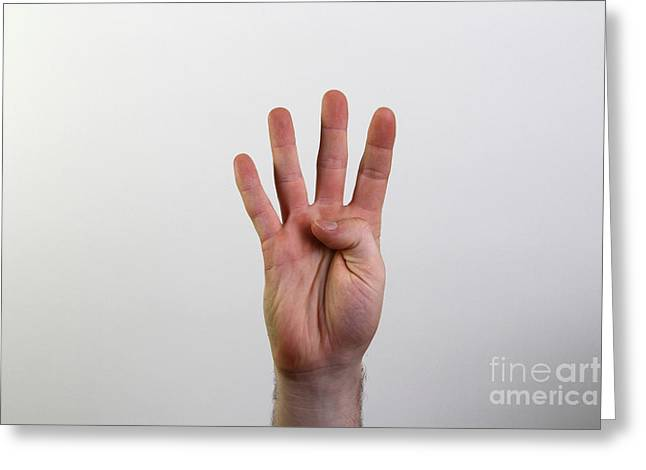 American Sign Language Greeting Cards - Hand Signing Number Four Greeting Card by Photo Researchers, Inc.