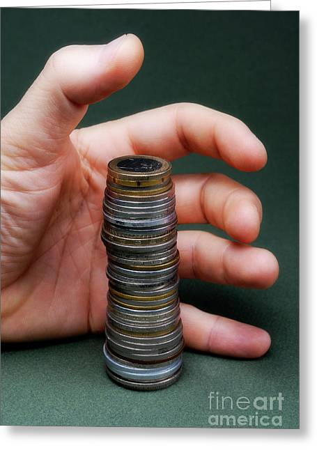 One Mature Man Only Greeting Cards - Hand surrounding stack of coins Greeting Card by Sami Sarkis