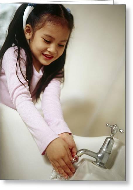Hand Washing Greeting Card by Ian Boddy