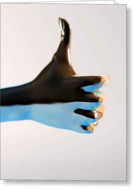 Thumbs Up Greeting Cards - Hand With Thumb Pointing Up, Artwork Greeting Card by Christian Darkin