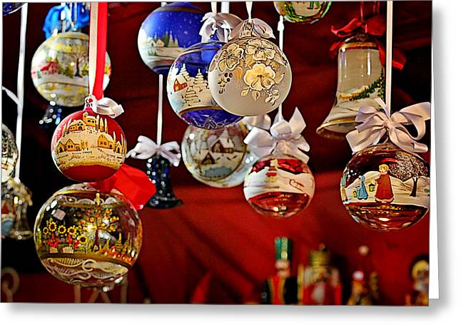 Handcrafted Mouth Blown Christmas Glass Balls Greeting Card by Christine Till