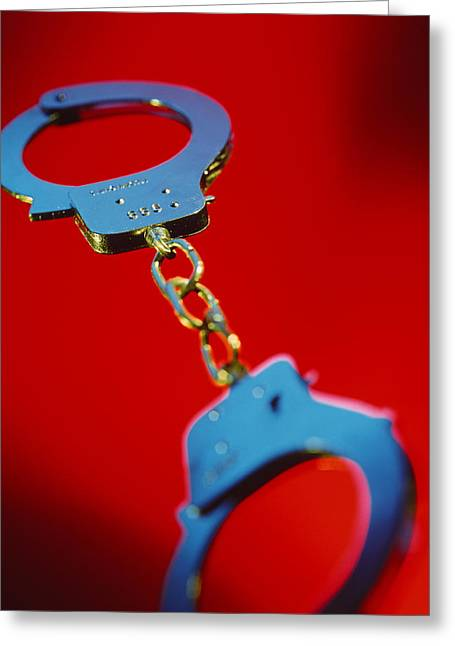 Masochism Greeting Cards - Handcuffs Greeting Card by Tek Image