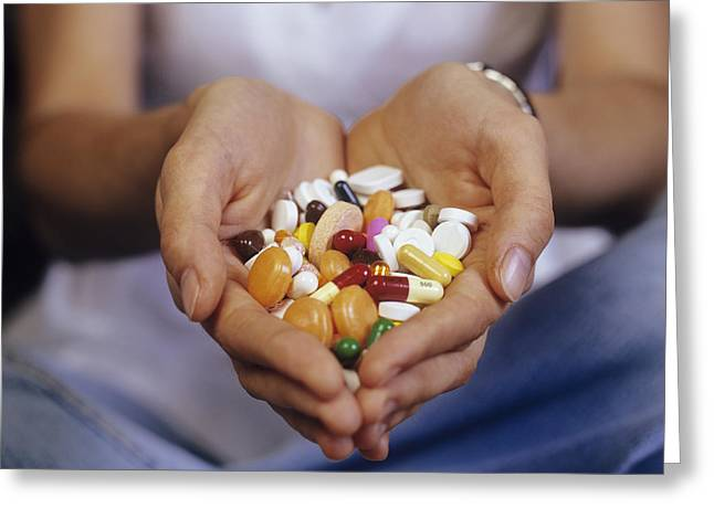 Medication Greeting Cards - Handful Of Pills Greeting Card by Carlos Dominguez