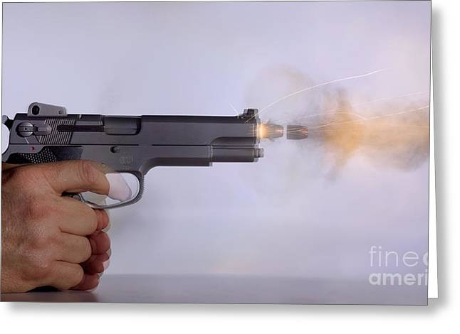 Gun Powder Greeting Cards - Handgun And .45 Caliber Bullet Double Greeting Card by Ted Kinsman