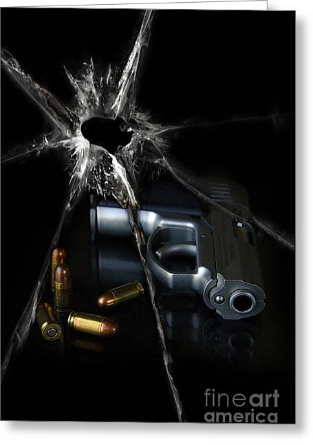Terrorist Greeting Cards - Handgun Bullets and Bullet Hole Greeting Card by Jill Battaglia