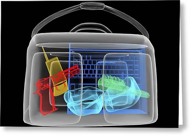 Terrorist Greeting Cards - Handgun In Briefcase, Simulated X-ray Greeting Card by Christian Darkin