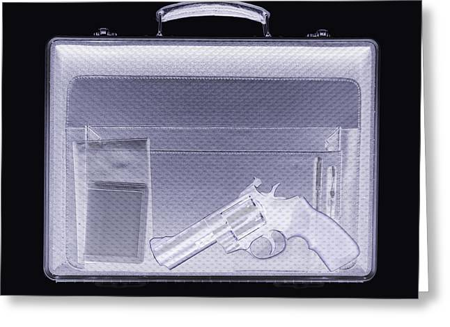 Terrorist Greeting Cards - Handgun In Briefcase, Simulated X-ray Greeting Card by Mark Sykes