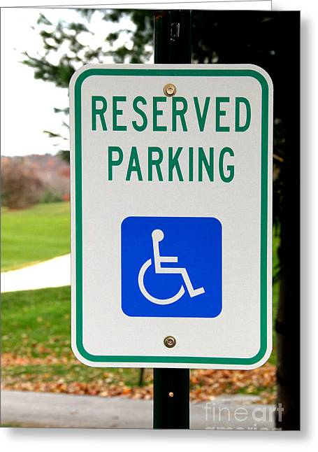 Graphic Language Greeting Cards - Handicapped Parking Sign Greeting Card by Photo Researchers