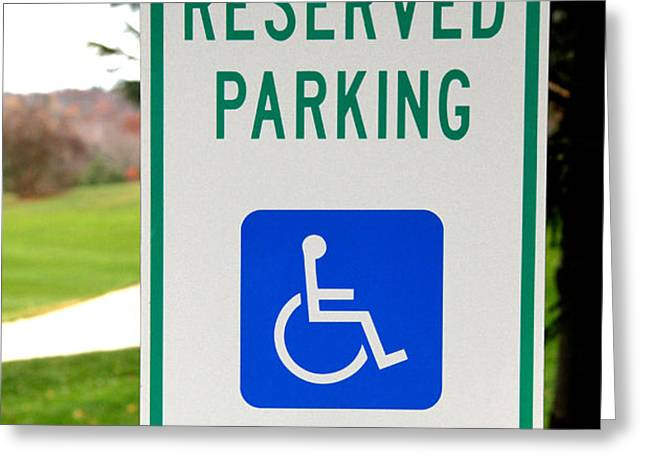 Handicapped Parking Sign Greeting Card by Photo Researchers